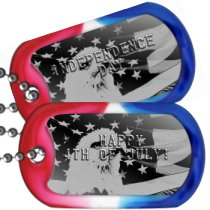 Eagle on American Flag USA Patriotic Dog Tags -  HAPPY 4TH OF JULY!