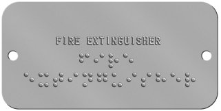 "'Fire Extinguisher' Braille Sign Braille Sign -  FIRE EXTINGUISHER ⠋⠊⠗⠑ ⠑⠭⠞⠊⠝⠛⠥⠊⠎⠓⠑⠗  "",""BOTTOM_ROWS"","""