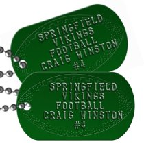 Football Team Player on Green Team Player Dog Tags - SPRINGFIELD VIKINGS FOOTBALL CRAIG WINSTON #4