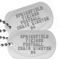 Football Team Player on Silver Team Player Dog Tags - SPRINGFIELD VIKINGS FOOTBALL CRAIG WINSTON #4