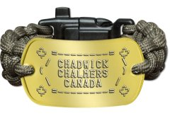 Green Paracord Bracelet with Brass Tag Paracord Survival Bracelet - ♣ =--------= ♣ / CHADWICK  \ (  CHALMERS  ) \  CANADA  / ♣ =--------= ♣