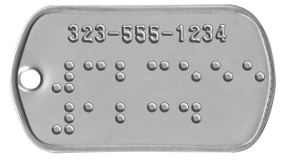 Guide and Service Dog Tags  323-555-1234 ⠼⠉⠃⠉⠑⠑⠑ ⠼⠁⠃⠉⠙