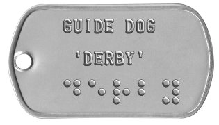 Guide and Service Dog Tags   GUIDE DOG    'DERBY'  ⠙⠑⠗⠃⠽