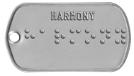 Harmony Braille Statement Dog Tags - HARMONY ⠓⠁⠗⠍⠕⠝⠽