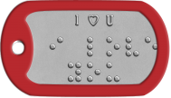 I Love You Braille Statement Dog Tags - I ♥ U ⠊ ⠇⠕⠧⠑ ⠽⠕⠥
