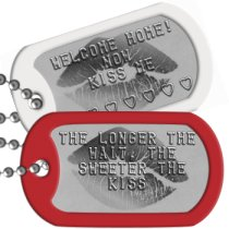 Kiss Me Long Distance Relationship Dog Tags - THE LONGER THE WAIT, THE SWEETER THE KISS