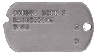 Korea 1950-53 Dog Tags JONES, BILL R RA18370798 T-52           A                P
