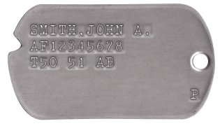 Air Force Dog Tags 1950-1953 (Korean War) SMITH,JOHN A. AF12345678 T50 51 AB                   P