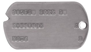 USMC Dog Tags 1950-1953 (Korean War) JONES, BILL R.  18370798       AB  USMC             P