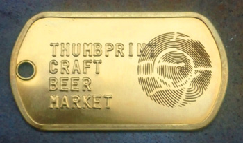 Laser Engraved and Embossed Brass Dogtag - Thumbprint