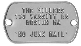 Mailbox Nameplates   THE MILLERS 123 VARSITY DR    BOSTON MA