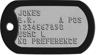 USMC Dog Tags JONES B.R.     A POS 1234567890 USMC L NO PREFERENCE
