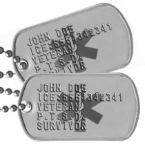 Medical Info PTSD Dog Tags - JOHN DOE ICE:5554342341 VETERAN P.T.S.D. SURVIVOR