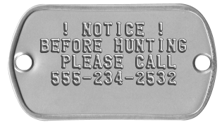 Property Signs   ! NOTICE ! BEFORE HUNTING   PLEASE CALL  555-234-2532