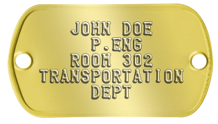 Office and Cubicle Nameplates    JOHN DOE      P.ENG    ROOM 302 TRANSPORTATION      DEPT