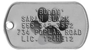 Paw Background Tag Dog Collar Dogtags - 'BUDDY' SARAH BLACK 555-342-3552 734 POPLAR ROAD LIC. 124HE12