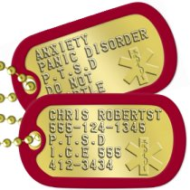 PTSD Instructions PTSD Dog Tags - CHRIS ROBERTST 555-124-1345 P.T.S.D I.C.E 555 412-3434