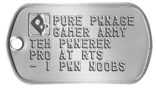 Pure Pwnage Dogtags PURE PWNAGE GAMER ARMY TEH PWNERER PRO AT RTS - I PWN NOOBS -