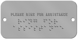 "'Ring For Assistance' Braille Sign Braille Sign -  PLEASE RING FOR ASSISTANCE ⠗⠊⠝⠛ ⠋⠕⠗ ⠁⠎⠎⠊⠎⠞⠁⠝⠉⠑  "",""BOTTOM_ROWS"","""