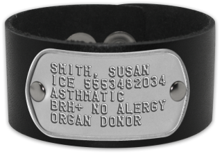 Runner Id Bracelet Smith Susan Ice 5553482034 Asthmatic Brh No Alergy Organ Donor