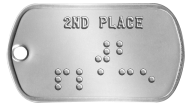 Second Place Medal Braille Statement Dog Tags - 2ND PLACE ⠼⠃ ⠏⠇⠁⠉⠑