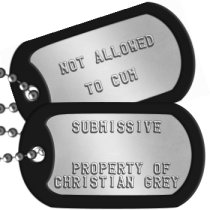 Sexual Slave Dogtags Fetish & Kink Dog Tags - SUBMISSIVE   PROPERTY OF CHRISTIAN GREY