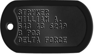 Special Forces Dogtags STRYKER WILLIAM A. 543 43 6249 B POS DELTA FORCE