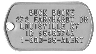 Trapping ID Tags    BUCK BOONE 272 EARNHARDT DR  LOUISVILLE KY   ID 95483743  1-800-25-ALERT