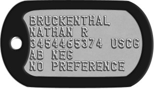 Coast Guard Dog Tags BRUCKENTHAL NATHAN R 3454465374 USCG AB NEG NO PREFERENCE