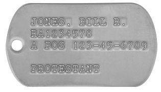 Army Dog Tags 1968-1969 (Vietnam War Era) JONES, BILL R. RA1234578 A POS 123-45-6789  PROTESTANT