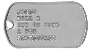Army Dog Tags 1969-1974 (Vietnam War Era) JONES WILLIAM R 123-45-7890 A POS PROTESTANT