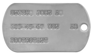 Navy Dog Tags 1967-1972 (Vietnam War Era) SMITH, JOHN A.  123-45-67 USN   AB  PROTESTANT