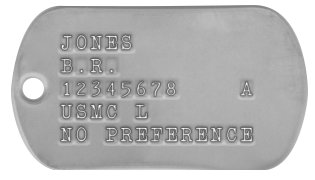 USMC Dog Tags (Vietnam War Era) JONES B.R.  12345678    A USMC L NO PREFERENCE