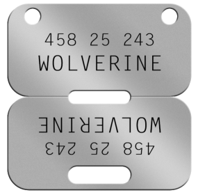 Wolverine Canadian Dogtag  WOLVERINE  45825243 T78 A