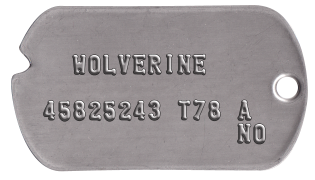 Wolverine Classic Dogtag Set    WOLVERINE  45825243 T78 A              NO