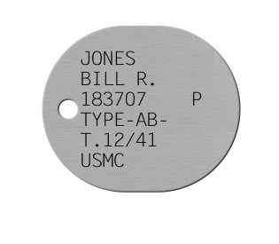 Navy & USMC Dog Tags 1921-1950 (WWII Era) JONES BILL R. 183707    P TYPE-AB- T.12/41