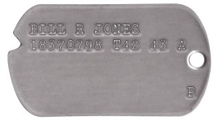 WWII Army Dog Tags 1943-44 BILL R JONES 18370798 T42 43 A                    P