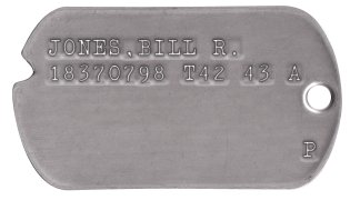 Army Dog Tags 1944-1946 (WWII Era) JONES,BILL R. 18370798 T42 43 A                    P
