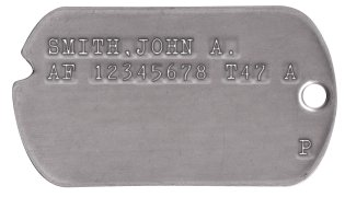 Air Force Dog Tags 1947-1948 (WWII Era) JONES,BILL R. 18370798 T42 43 A                    P