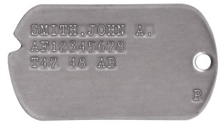 Air Force Dog Tags 1948-1950 (WWII Era) SMITH,JOHN A. AF12345678 T47 48 AB                   P