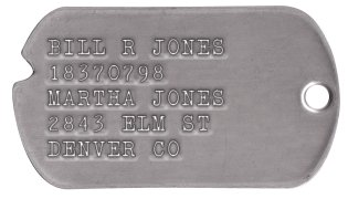 Army Dog Tags 1939-1941 (WWII Era) BILL R JONES 18370798         MARTHA JONES 2843 ELM ST DENVER CO