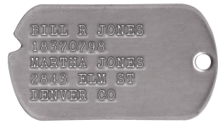 Notched WWII Style Dogtags BILL R JONES 3733756 T42 41 FRED JONES 2843 ELM ST DENVER CO