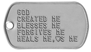 Youth Group Dog Tags GOD  CREATED ME BLESSES ME FORGIVES ME HEALS ME,hS ME