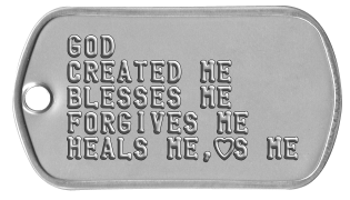 Youth Group Dogtags GOD  CREATED ME BLESSES ME FORGIVES ME HEALS ME,hS ME
