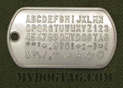 Dogtag from Mydogtag.com with all available embossing characters shown