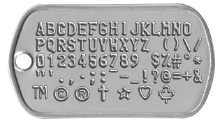 Dogtag showing all available embossing characters: underscore, upperscore, copyright, trademark, star, crucifix, heart, dollar, question mark, hashtag, maple leaf